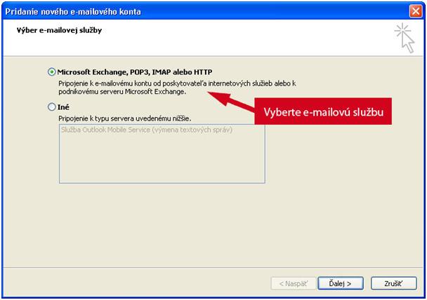 Nastavenie POP3 a SMTP