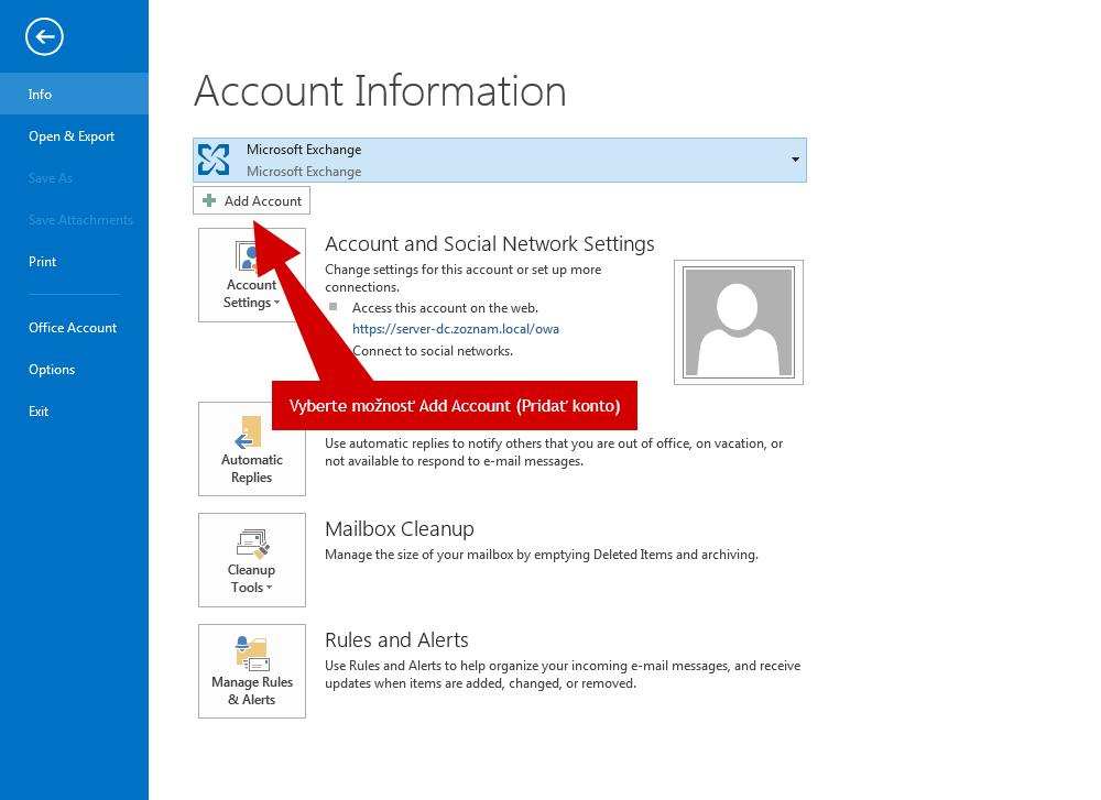 Vyberte možnosť Add Account – Pridať konto.