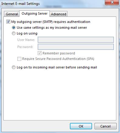 Na záložke Server odosielanej pošty označte položku: Server odosielanej pošty SMTP vyžaduje overenie.