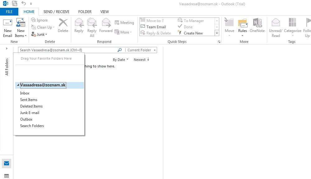 Vyberte možnosť All folders – Všetky záložky a kliknite na Vašu E-mailovú adresu.